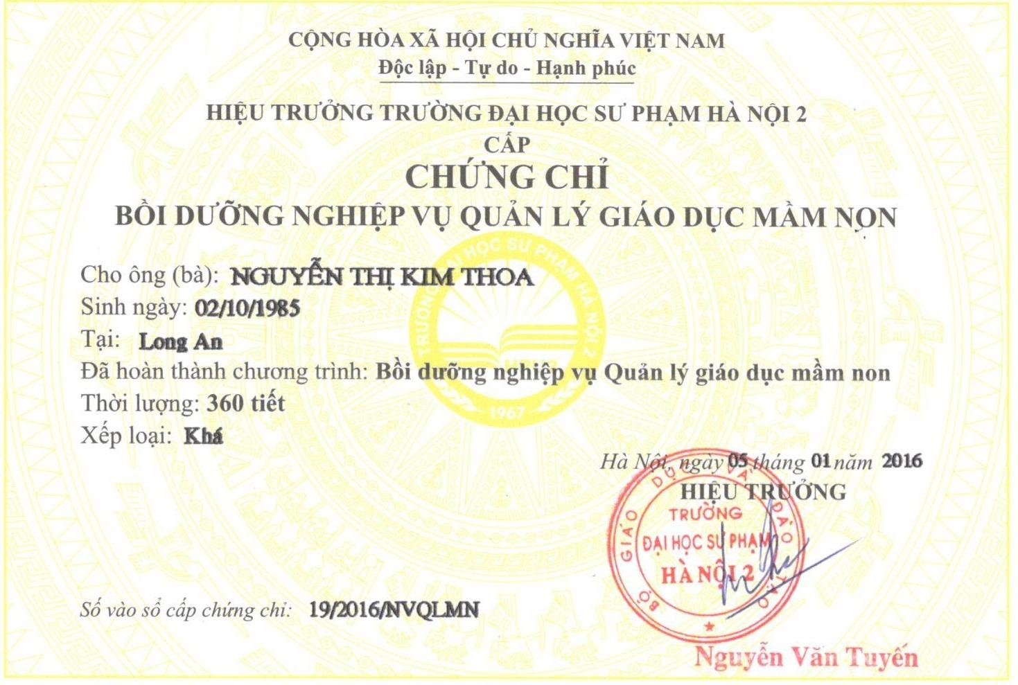 Tuyen Sinh chứng chỉ quản lý trường mầm non Ở An Giang